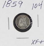 1859 - SEATED LIBERTY HALF DIME - XF+
