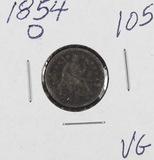 1854-O W/ARROWS SEATED LIBERTY HALF DIME - VG