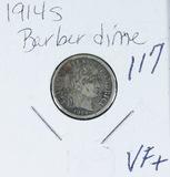 1914-S BARBER DIME - VF+