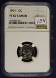 1964 - NGC PROOF 67 CAMEO ROOSEVELT DIME