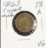 1863 - COPPER/NICKEL INDIAN HEAD CENT - AG