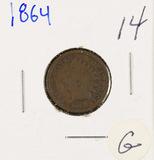 1864 - BRONZE INDIAN HEAD CENT - G