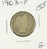 LOT OF 2 1903 & 1912 BARBER QUARTERS - G
