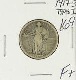 1917 TYPE I STANDING LIBERTY QUARTER - F+
