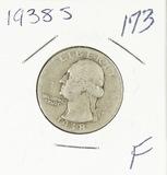 1938-S WASHINGTON QUARTER - F