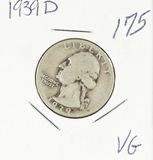 1939-D WASHINGTON QUARTER - VG
