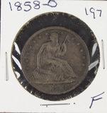 1858-O LIBERTY SEATED HALF DOLLAR - F