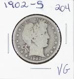 1902-S BARBER HALF DOLLAR - VG