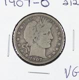 1907-O BARBER HALF DOLLAR -VG