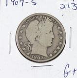 1907-S  BARBER HALF DOLLAR - G+