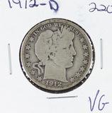 1912-D BARBER HALF DOLLAR -VG