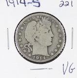 1914-S BARBER HALF DOLLAR -VG