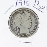 1915-D  BARBER HALF DOLLAR - VG
