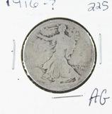 1916-   LIBERTY WALKING HALF DOLLAR - AG