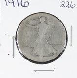 1916 -  LIBERTY WALKING HALF DOLLAR -AG