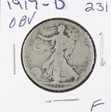 1917-D   LIBERTY WALKING HALF DOLLAR -F