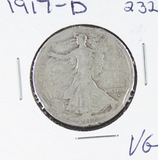 1917-D   LIBERTY WALKING HALF DOLLAR -VG