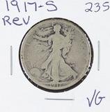1917-S   LIBERTY WALKING HALF DOLLAR (REVERSE) -VG