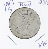 1917-S  LIBERTY WALKING HALF DOLLAR (REVERSE) - VG