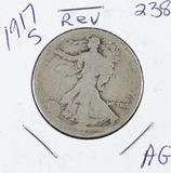 1917-S  LIBERTY WALKING HALF DOLLAR (REVERSE) -AG
