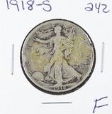 1918-S  LIBERTY WALKING HALF DOLLAR -F