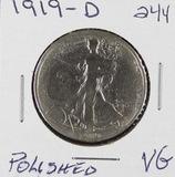 1919-D  LIBERTY WALKING HALF DOLLAR - VG POLISHED