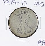 1919-D  LIBERTY WALKING HALF DOLLAR - AG