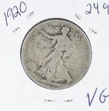 1920 - LIBERTY WALKING HALF DOLLAR -VG