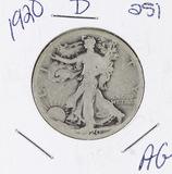 1920-D  LIBERTY WALKING HALF DOLLAR -AG