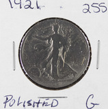 1921 - LIBERTY WALKING HALF DOLLAR - G POLISHED
