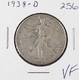 1938-D  LIBERTY WALKING HALF DOLLAR - VF