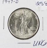1947-D WALKING LIBERTY HALF DOLLAR - UNC