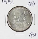 1951 - FRANKLIN HALF DOLLAR -AU