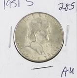 1951-S FRANKLIN HALF DOLLAR -AU