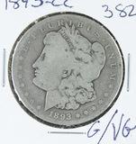 1893-CC  MORGAN DOLLAR -G/VG