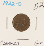 1922-D LINCOLN CENT -G+ (CLEANED)