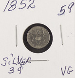 1852 - SILVER THREE CENT PIECE (TRIME) VG