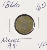 1866 - NICKEL THREE CENT PIECE - VF