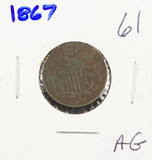 1867 - SHIELD NICKEL - AG