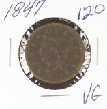 1847- BRAIDED HAIR LARGE CENT - VG