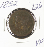 1852- BRAIDED HAIR LARGE CENT - VF