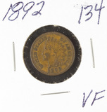 1892 - INDIAN HEAD CENT - VF