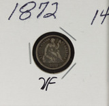 1872 - SEATED LIBERTY HALF DIME - VF