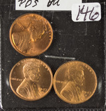3 - COIN LOT LINCOLN CENTS UNC
