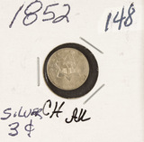 1852 - SILVER THREE CENT PIECE (TRIME) AU