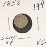 1853 - SILVER THREE CENT PIECE (TRIME) VG