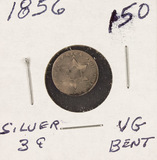 1856 - SILVER THREE CENT PIECE (TRIME) VG (Bent)