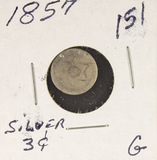1857 - SILVER THREE CENT PIECE (TRIME) G