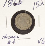 1865 -NICKEL THREE CENT PIECE (TRIME) VG