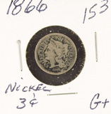 1866 - SILVER THREE CENT PIECE (TRIME) G+